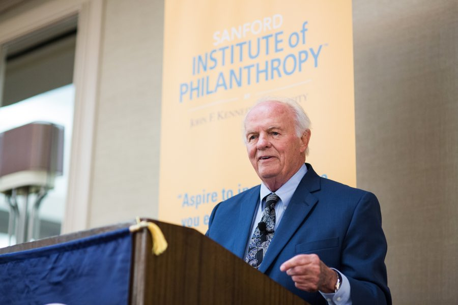 T. Denny Sanford Addresses the attendees at the Sanford Institute of Philanthropy Symposium-